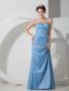 Baby Blue Column Sweetheart Floor-length Taffeta Beading and Ruch Prom Dress