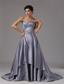 Strapless Elastic Woven Satin A-Line / Princess Brush/Sweep 2013 Prom Dress Ruched