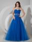 Blue A-line Sweetheart Floor-length Tulle Beading and Ruch Prom / Evening Dress