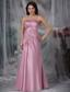 Rose Pink Column Strapless Floor-length Appliques Taffeta Prom Dress