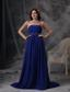 Blue Empire Strapless Floor-length Chiffon Beading and Ruch Prom / Celebrity Dress