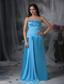 Aqua Blue Column Sweetheart Floor-length Chiffon and Taffeta Beading Prom Dress