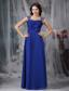 Royal Blue Empire Straps Floor-length Beading and Ruch Chiffon Prom Dress