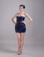 Navy Blue Column/Sheath Strapless Mini-length Taffeta Beading Cocktail Dress