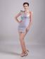Grey Column/Sheath One-shoulder mini-length Satin Rhinestone Prom Dress
