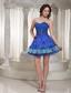 Luxurious Style For Sweetheart Blue Beaded Drocrate Prom / Cocktail Dress With Mini-length