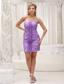 Custom Made Lavender Column Prom / Homecoming Dress For 2013 Ruched Bodice Mini-length