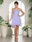 Lilac Beaded Decorate One Shoulder Mini-length Chiffon 2013 Homecoming / Cocktail Dress In Michigan