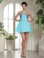 Aqua Blue and Grey Mini-length Club Cocktail / Homecoming Dress In Moberly