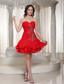 Beading Decorate Sweetheart Cute Red Short Prom Dress