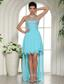 Aqua Blue Beaded Sweetheart 2013 High-low Prom Dress For Custom Made In Starkville