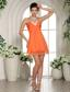 Orange V-neck Mini-length Club Cocktail / Homecoming Dress In Meridian