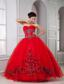 Red Ball Gown Sweetheart Floor-length Tulle Beading Quinceanera Dresss