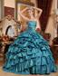 Teal Ball Gown Strapless Floor-length Taffeta Appliques and Pick-ups Prom Dress