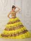 Yellow A-Line / Princess Strapless Sweep /Brush Train Leopard and Organza Ruffles Quinceanera Dress