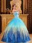 Gorgeous Ball Gown Sweetheart Floor-length Beading Satin and Organza Blue Quinceanera Dress