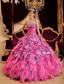Hot Pink Ball Gown Sweetheart Floor-length Beading Leopard and Organza Quinceanera Dress