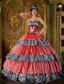 Luxurious Ball Gown Sweetheart Floor-length Zebra Ruffles Quinceanera Dress