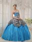 Aqua Blue Ball Gown Sweetheart Floor-length Taffeta and Zebra or Leopard Ruffles Quinceanera Dress