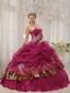 Burgundy Ball Gown Sweetheart Floor-length Organza and Zebra or Leopard Appliques Quinceanera Dress
