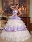 Elegant Ball Gown Straps Floor-length Hand Flowers Organza and Printing Quinceanera Dress