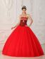 Red A-line / Princess Strapless Floor-length Tulle and Zebra Beading Quinceanera Dress