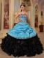 Blue and Black Ball Gown Sweetheart Floor-length Ruffles Taffeta and Organza Quinceanera Dress