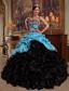 Aqua Blue and Black Ball Gown Sweetheart Floor-length Pick-ups Taffeta and Organza Quinceanera Dress