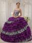 Purple Ball Gown Sweetheart Floor-length Zebra and Organza Beading Quinceanera Dress