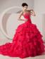 Coral Red A-line / Princess Sweetheart Brush Train Taffeta Beading Prom Dress