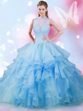 Great Baby Blue Lace Up Sweet 16 Dresses Beading and Ruffles Sleeveless Floor Length