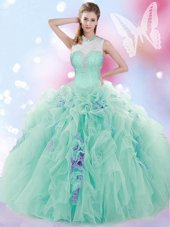 Deluxe High-neck Sleeveless Quince Ball Gowns Floor Length Beading and Ruffles Apple Green Tulle
