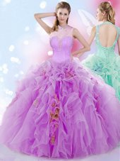 Exceptional Tulle Halter Top Sleeveless Lace Up Beading and Ruffles Vestidos de Quinceanera in Lilac