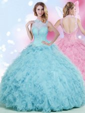 Excellent Tulle High-neck Sleeveless Lace Up Beading and Ruffles Sweet 16 Dress in Baby Blue