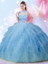 Cute Floor Length Baby Blue Quince Ball Gowns High-neck Sleeveless Lace Up