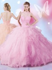 Flirting Beading and Ruffles 15th Birthday Dress Rose Pink Lace Up Sleeveless Floor Length