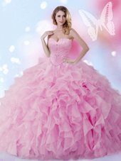 Best Floor Length Lilac 15 Quinceanera Dress Organza Sleeveless Beading and Ruffles