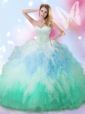 Edgy Sweetheart Sleeveless Tulle Quinceanera Dress Beading and Ruffles Lace Up