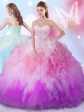 Perfect Multi-color Ball Gowns Sweetheart Sleeveless Tulle Floor Length Lace Up Beading and Ruffles Sweet 16 Dress
