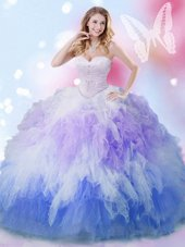 Multi-color Ball Gowns Beading and Ruffles Quinceanera Gowns Lace Up Tulle Sleeveless Floor Length