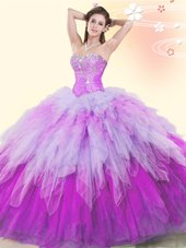 Glorious Floor Length Lace Up Quinceanera Gowns Multi-color and In for Military Ball and Sweet 16 and Quinceanera with Beading and Ruffles
