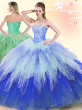 Glorious Sleeveless Beading and Ruffles Lace Up Quince Ball Gowns