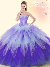 High End Multi-color Sweetheart Neckline Beading and Ruffles Vestidos de Quinceanera Sleeveless Lace Up