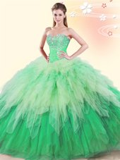 Deluxe Multi-color Tulle Lace Up Sweet 16 Quinceanera Dress Sleeveless Floor Length Beading and Ruffles