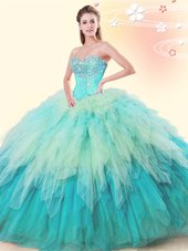 Sleeveless Tulle Floor Length Lace Up 15th Birthday Dress in Multi-color for with Beading and Ruffles