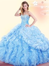 Captivating Pick Ups Floor Length Ball Gowns Sleeveless Baby Blue Quinceanera Gown Lace Up