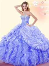 Great Blue Organza Lace Up Sweetheart Sleeveless Floor Length Sweet 16 Dresses Beading and Ruffles and Pick Ups