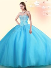 Most Popular Baby Blue Sweetheart Lace Up Beading Ball Gown Prom Dress Sleeveless