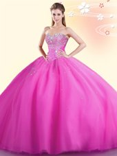 Dynamic Sweetheart Sleeveless Lace Up 15 Quinceanera Dress Hot Pink Tulle