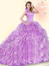 Beading and Ruffles Sweet 16 Dresses Lilac Backless Sleeveless Brush Train